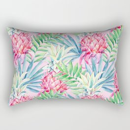 Pineapple & watercolor leaves Rectangular Pillow