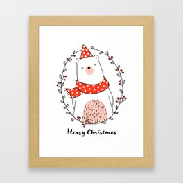 Cute bear in wreath for Christmas day Framed Art Print