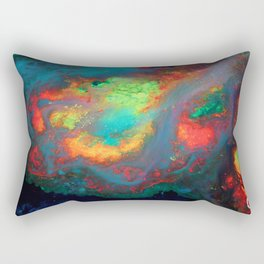 """Titan"" Mixed media color on canvas, abstract painting red blue green yellow contemporary art Rectangular Pillow"