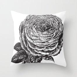 Engraved Big Rose Bud Throw Pillow