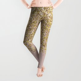 Pink and Gold Glitter Leggings