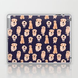 Golden Retrievers on Navy Laptop & iPad Skin