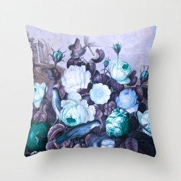 Teal Roses Blue Birds : Temple of Flora Throw Pillow