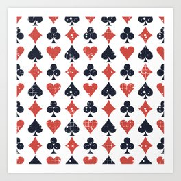 Icons of playing cards pattern Art Print