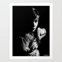 Girl in grey Art Print