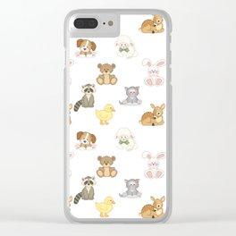 Cute Woodland Farm Baby Animals Nursery Clear iPhone Case