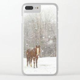 Western Winter Wonderland Clear iPhone Case