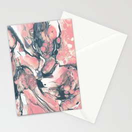 Coral and Navy Marble Stationery Cards