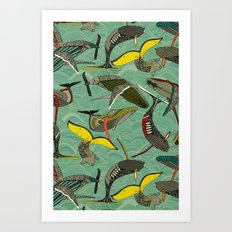whales and waves jade Art Print