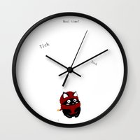 meow Wall Clocks featuring Meow by quackso
