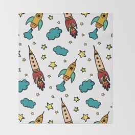 Colorful spaceshuttle in universe Throw Blanket