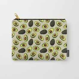 Dancing Millennial Avocados on Beige, Ditsy print Carry-All Pouch