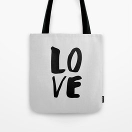 Monochrome LOVE black-white hand lettered ink typography poster design home decor wall art Tote Bag