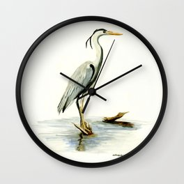 Blue Heron - watercolor bird, home decor, nursery wall art Wall Clock