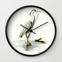 Blue Heron - watercolor bird, home decor, nursery wall art Wall Clock