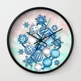 Blue white Christmas balls on square background Wall Clock