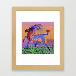 Fire Dragon Horse Framed Art Print