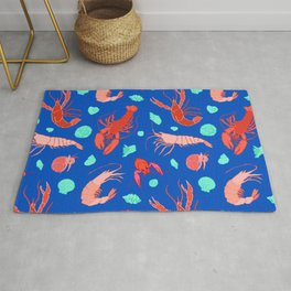 Dance of the Crustaceans in Ocean Blue Rug