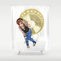 mucha Shower Curtains featuring Mucha Music Fan by Adriana Blake