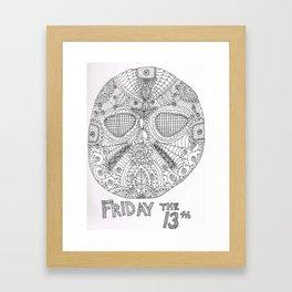 Hockey Mask Doodle Framed Art Print