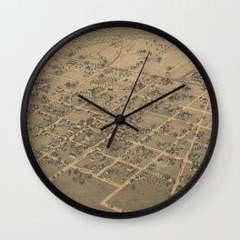 Vintage Pictorial Map of La Grange TX (1880) Wall Clock