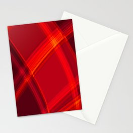 Smooth red curved lines with bright luminous nets of intersecting stripes.  Stationery Cards