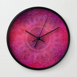 Watercolor Mandala Painting Red Pink Wall Clock