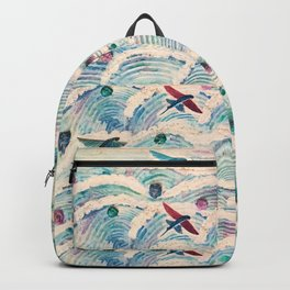 Flying fish in abstract sea Backpack