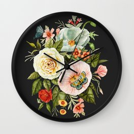 Wildflower and Butterflies Bouquet on Charcoal Black Wall Clock