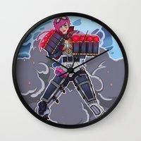 league of legends Wall Clocks featuring League of Legends: Vi by Arnix