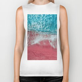 SPLASH - Electric Pink Sand and Turquoise Waves Biker Tank
