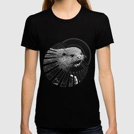 fish otter on a rock vector art black white T-shirt