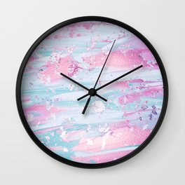 Shine Shimmer Pastel Pink and Blue Modern Wall Clock