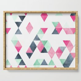 Geometrical pink mint green white gray watercolor Serving Tray