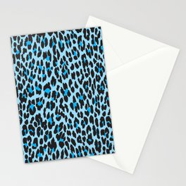 Animal Print, Spotted Leopard - Blue Black Stationery Cards