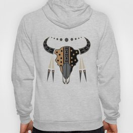 Buffalo Skull and Feathers (Brown) Hoody
