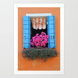 Orange Burano Window Art Print