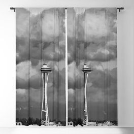 Seattle Skyline - B & W Blackout Curtain