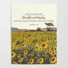Proverbs and Sunflowers Poster