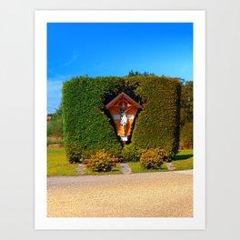Jesus, a cross and a trimmed bush Art Print