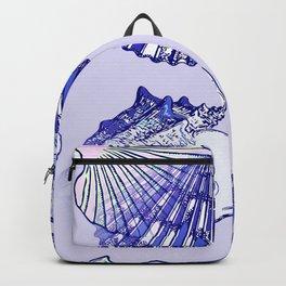Seashells Beach Pattern Blue Backpack