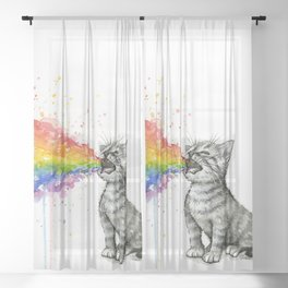 Kitten Puking Rainbow Sheer Curtain