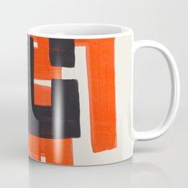 Harsh Mid Century Modern Line Pattern Ancient Aztec Ruins Orange Maze Pattern Black Accent Coffee Mug