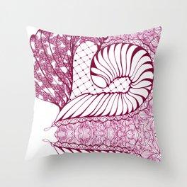 Fuchsia Pop Art Deco Doodle Design Throw Pillow