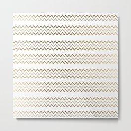 Elegant faux gold white chevron zigzag geometrical pattern Metal Print