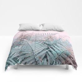 Duotone Fern Jungle on Soft Pink Comforters
