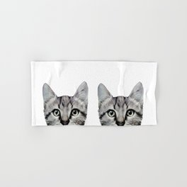 Cat, American Short hair, illustration original painting print Hand & Bath Towel