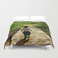 toddler Duvet Covers featuring Walking Into the Future by GoldTarget