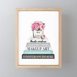 Peony, Peonies, Books, Fashion books, Pink, Teal, Fashion, Fashion art, fashion poster, Framed Mini Art Print
