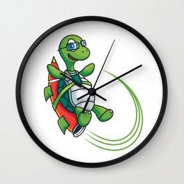 Cartoon Turtle on Rocket Speed Wall Clock